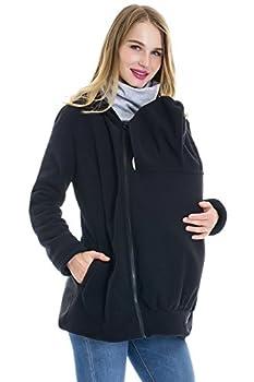 Smallshow Womens Fleece Zip Up Maternity Baby Carrier Hoodie Sweatshirt Jacket,Black,Medium