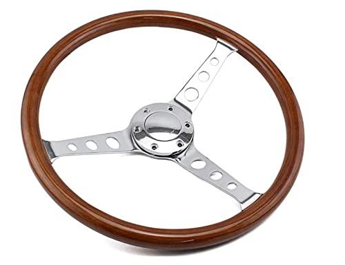 Keep it simple ITSOK 15 Pulgadas Volante de Madera Classic Universal Wooden Rim 380mm Chrome habló Vintage Volante de Madera 15'Ajuste para los Coches