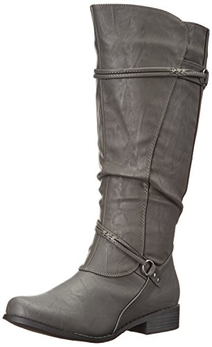 Brinley Co. Womens Regular, Wide Calf and Extra Wide Calf Tall Buckle Riding Boots Grey, 6.5 Regular US