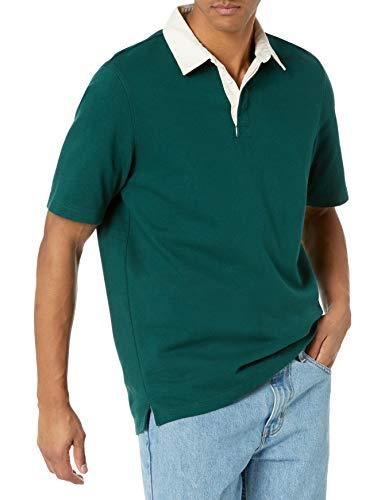 Amazon Essentials Men's Regular-Fit Short-Sleeve Rugby Polo, Dark Green, X-Large
