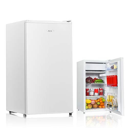COSTWAY Kühlschrank mit Gefrierfach Standkühlschrank Gefrierschrank Kühl-Gefrier-Kombination / 91L / Weiß
