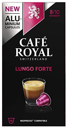 Café Royal Lungo Forte 100 Capsules en Aluminium Compatibles avec le Système Nespresso (R)*; Intensité: 8/10; (Lot de 10X10)