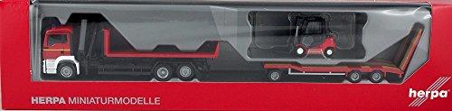 Herpa 305525 MAN TGS M Abrollflat-LKW mit Goldhofer TU3 und Gabelstapler