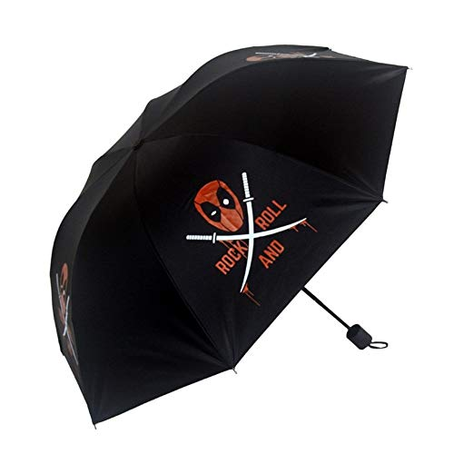 Regenschirm DREI Falten Sonnenschutz Man Wei Regenschirm Deadpool Shade Anime Umgebung Held Deadpool sonnig und Rainy Dual-Use-Regenschirm (Color : Deadpool)