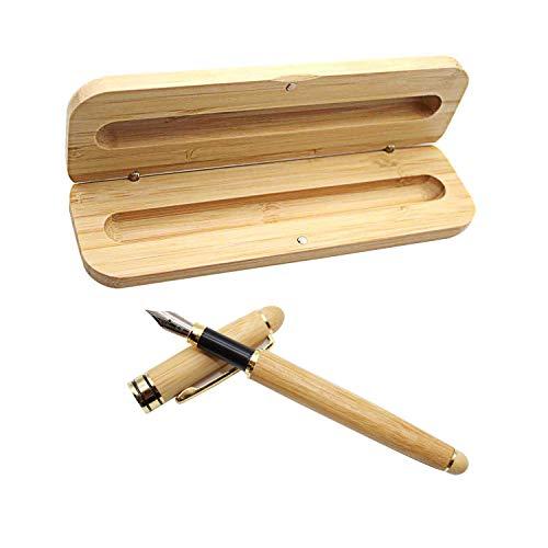WJUAN Vintage Füllfederhalter Bambus Füllfederhalter 14 cm/ 5.5 Zoll, Executive Füllhalter Set Natürlicher Handgefertigter Bambus mit Passender Bambuskiste