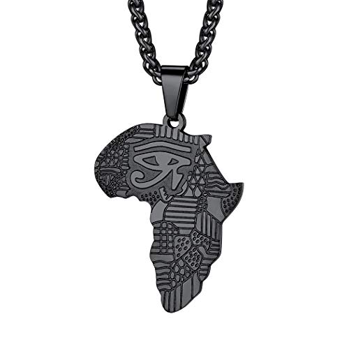 Suplight Black Eye of Horus Pendant Africa Map Chain Necklace Hip Hop Jewelry Stainless Steel Map of Africa Ethiopia Charm for Men Women