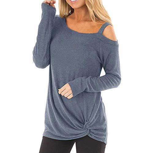 iHENGH Damen Frühling Sommer Top Bluse Bequem Lässig Mode Frauen Womens Casual Weiche Lange Ärmel O Hals Knot Side Twist Bluse Top T-Shirt(Blau, L)