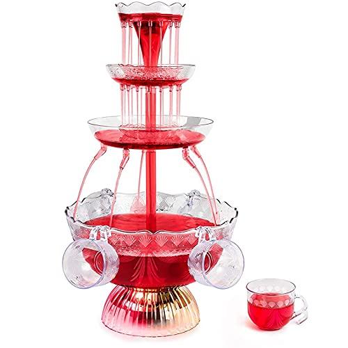 ShenMiDeTieChui 3-Stufiger Partybrunnen, LED Leuchtgetränkebrunnen Aus Kunststoff Mit 5 Tassen Für Trinkspiele/Bar/Home-Party (Color : Clear)