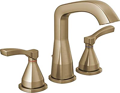 Delta Faucet Stryke Widespread Bathroom Faucet 3 Hole, Gold Bathroom Faucet, Diamond Seal Technology, Metal Drain Assembly, Champagne Bronze 35776-CZMPU-DST