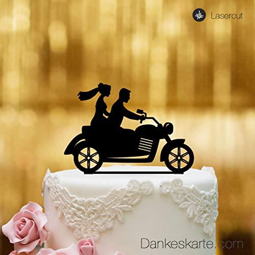 Dankeskarte.com Cake Topper Moto – per la Torta Nuziale – Vetro Acrilico Nero – XL