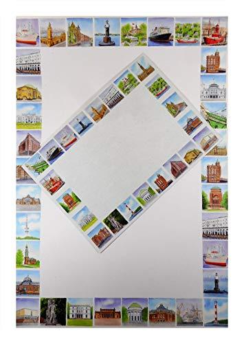 Juego de escritura 25662 con impresión de Hamburgo, puente de aterrizaje, puerto de barco, 10 hojas de papel de carta y 8 sobres decorativos