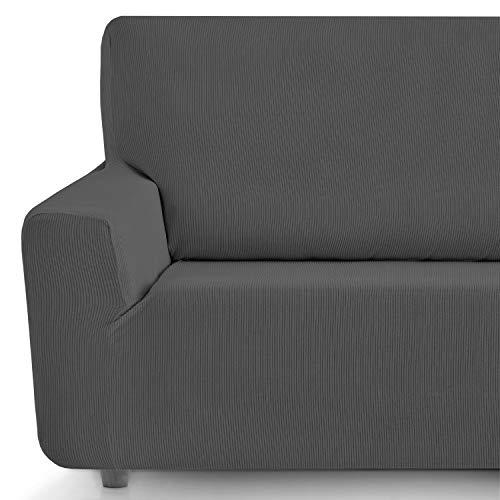 Eiffel Textile Funda Sofa Elastica Protector Adaptable Rústica Sofá 3 Plazas, 50% Poliéster, Gris