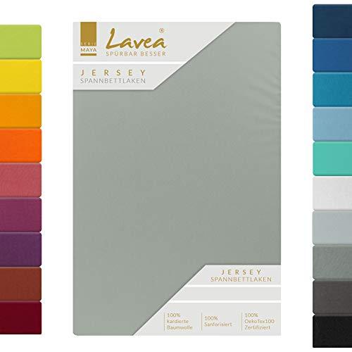 Lavea Jersey Spannbettlaken, Spannbetttuch, Serie Maya, 120x200cm, Mittelgrau, 100% Baumwolle, hochwertige Verarbeitung, mit Gummizug