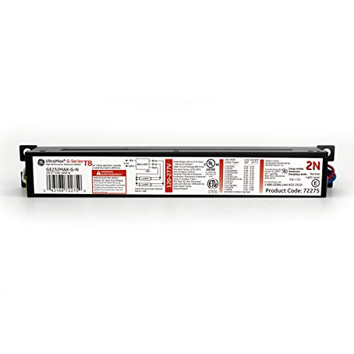 GE UltraMax Proline Electronic Ballast, 120/277 Volt Instant Start Ballast, Normal Ballast Factor, Ballast for Fluorescent Light (1) or (2) Lamp T8, Compatible with F32T8/WM and F17T8