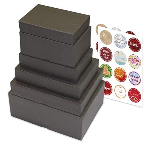 enve print 6er Set Geschenkboxen in versch. Größen, Geschenkschachteln, Geburtstag, Weihnachten, Deko Geschenkboxen inkl. Aufklebern mit Sprüchen (6er Set, Taupe)
