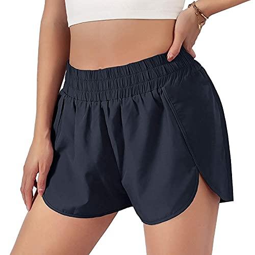 Pantalones Cortos Deportivos de Color Sólido para Mujer Shorts de Deporte Absorbentes Secado Rápido Pantalón Cortos Transpirables y Elásticos Pantalones Deportivos Ideal para Yoga y Pilates