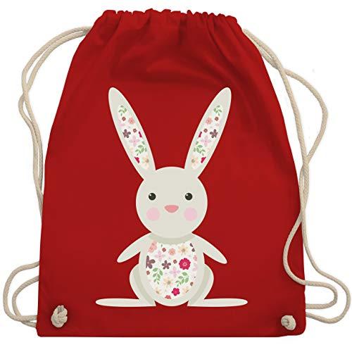 Ostern - Süßer Hase - Frühlingstiere mit Blumen - Unisize - Rot - turnbeutel kleinkind - WM110 - Turnbeutel und Stoffbeutel aus Baumwolle