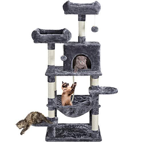 Yaheetech Katzen Kratzbaum Stabil Kletterbaum Katzenkratzbaum mit Sisal-Kratzstangen Hängematte und Katzenhöhle, Dunkelgrau