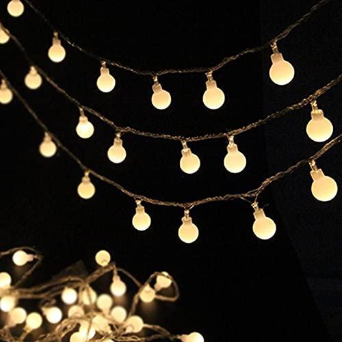 Cadena de luces LED esféricas de Mtawou, cadena de luz decorativa redonda, funciona con pilas, para decoración de diferentes terrazas y fiestas