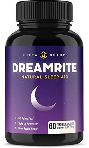 Natural Sleep Aid - Non-Habit Forming - Stress, Anxiety & Insomnia Relief Supplement - DREAMRITE Herbal Sleeping Pills for Adults with Valerian, Chamomile, Magnesium, Melatonin - 60 Vegan Capsules