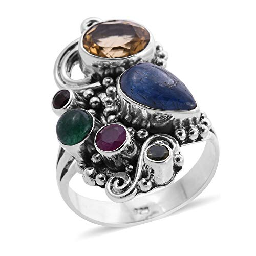 TJC Multi Gemstone Designer Ring for Womens in 925 Sterling Silver Perfect Gift for all Occassions Size M, TCW 5.58ct