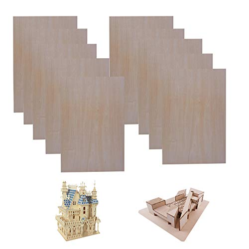 10 Pieces Unfinished Basswood Sheets,Thin Plywood Crafts Wood Sheets for Cricut Maker,1/16 ×8×12 Inch