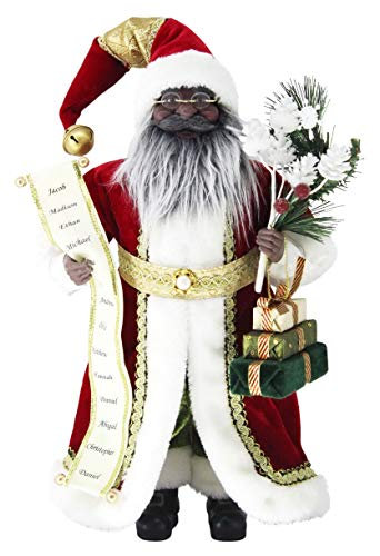 Windy Hill Collection 16' Inch Standing Name List African American Black Ethnic Santa Claus Christmas Figurine Figure Decoration 416030A