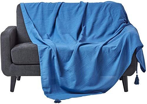 Homescapes große Tagesdecke Rajput, blau, Wohndecke aus 100prozent Baumwolle, 225 x 255 cm, Sofaüberwurf/Couchüberwurf in RIPP-Optik