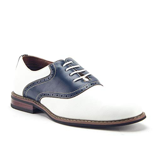 Ferro Aldo Men's 19268A Two Tone Saddle Dress Oxfords Shoes, White/Navy, 9