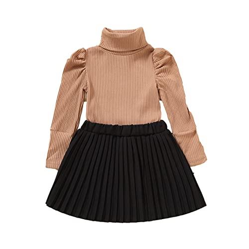 (6 meses-4 años), otoño e invierno, traje de niña, cuello medio, camisa de manga larga estrecha y falda plisada, monocolor, traje de dos piezas, moda