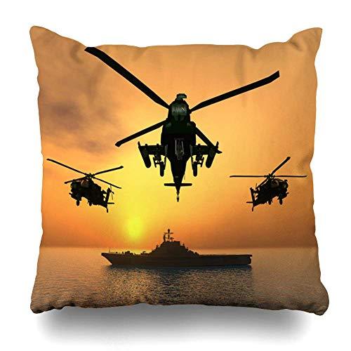 Egoa Couch Cushions Ocean Force Apache Helicopter Aviation Generado por Computadora Tecnología De Transporte 3D Carrier Decorativo Hospital Hostel Funda De Almohada Librería Tienda DEC