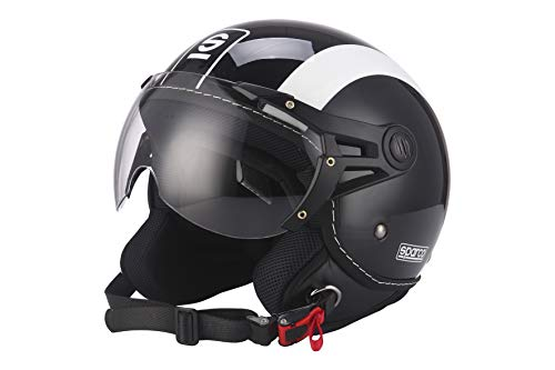 Sparco Riders Demi Jet 39351NGB Casco Moto, Nero/Bianco, M
