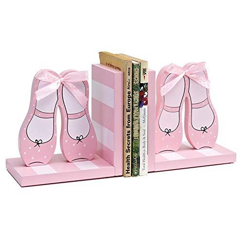 Bookends Decoración de estantería Bookends Statue Resin Sookends Princess Shoes Bookblock Ribbon Rosa Libro Libro de decoración de la habitación de los niños por adornos Adornos de decoración del hoga