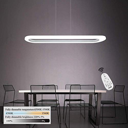 Hanglamp voor kantoor 40 W LED hanglamp dimbaar met afstandsbediening ultradunne acryl lampenkap lang ovaal voor eetkamer Sala Studio