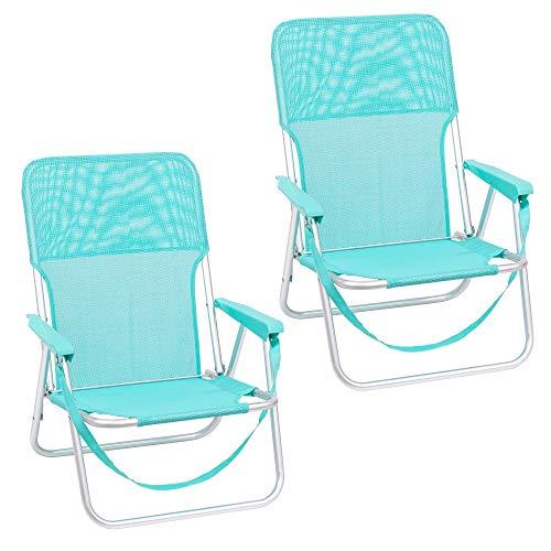 Pack de 2 sillas Playa fijas de Asiento bajo de Aluminio y textileno de 54x40x71 cm (Aguamarina)