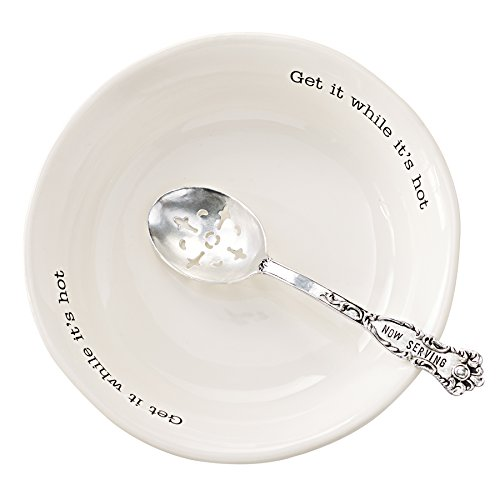 Mud Pie Vegetable Serving Bowl Set with Slotted Spoon, White