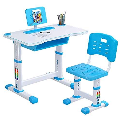 LKNJLL Escritorio y silla para niños, mesa de estudio ajustable de altura, escritorio de estudios de estudios, escritorio de escritura estudiantil con almacenamiento de cajón, estuche de lápices, esta