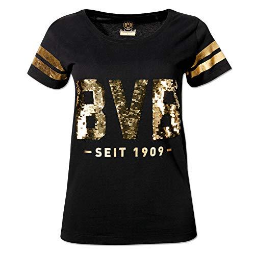 BVB-Casual T-Shirt für Frauen Pailletten Gold M