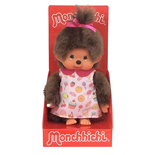 Sekiguchi 233861 - Original Monchhichi Mädchen, aus braunem Plüsch, mit Pop & Candy Kleid und einem Zopf mit pinkfarbener Schleife, ca. 20 cm