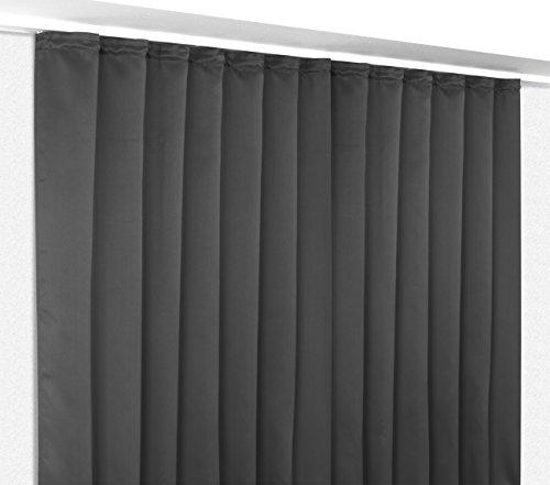 Verdunkelungsgardine mit Kräuselband, blickdichter Vorhang 300x245 cm Farbe wählbar, Dunkelgrau