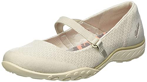 Skechers Breathe-Easy Love Too, Zapatos Planos Mary Jane Mujer, Beige (Nat), 41 EU