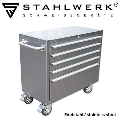 STAHLWERK Werkstattwagen W-410 ST, Werkzeugwagen, Montagewagen, 4 Schubladen, 1 Auszug, polierter Edelstahl, stabile Lenkrollen mit Feststellbremse
