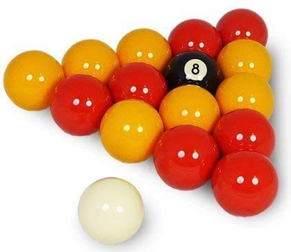 BILLARES Y DARDOS CAMARA Juego de Bolas de Billar Americano de Casino Amarillas y Rojas (57,2mm y Blanca 60,3mm)