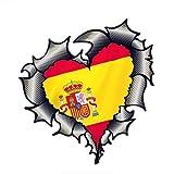 TLZDGX Sticker de Carro Fibra de Carbono de Metal Rasgado de Metal Rasgado con la Bandera española de España Motif Pegatina de automóvil Externa KK15 * 14 cm (Size : 15cm x 14cm)