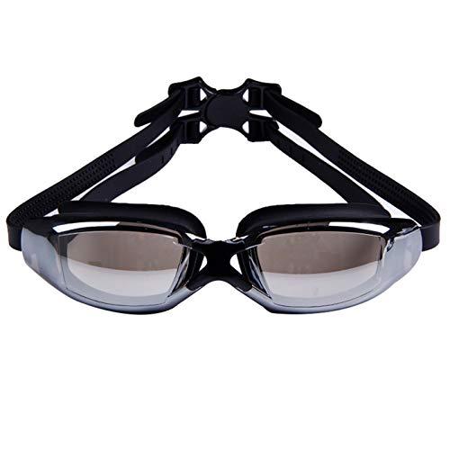 QQSS Gafas de Natación de Miopía (0 a -8.0) Anti-UV Antivaho con Puente Nasal Extraíble, Tapones para los Oídos Siameses para Adultos Hombres Mujeres Niños