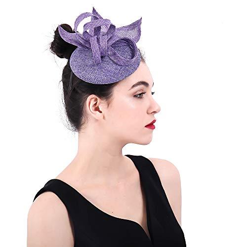 Yiwuhu Eleganter Fascinator-Hut für Damen Frauen Sinamay Stirnband Fascinator Hochzeit Kopfschmuck Blume Damen Wettbewerb Royal Ascot Pillbox Cocktailparty Derby Kappe Schmuck (Farbe : Lila)