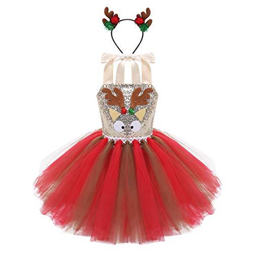 iiniim Princesa Disfraz Reno Ciervo Traje de Navidad Halloween Niña Vestido Tutú Lentejuelas Fiesta Cumpleaños sin Mangas Conjunto con Diadema Argolla de Pelo Rojo&Marrón 10-12 años