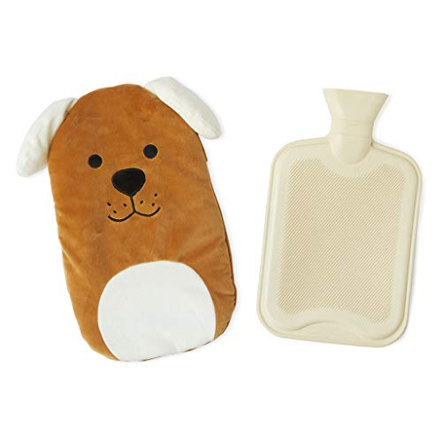 Balvi Bolsa Agua Caliente Woof! Color Marron Botella de Agua Caliente con Cubierta Suave en Forma de Perro 1.6L Caucho/poliéster