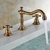 Grifo de lavabo de tres orificios de latón antiguo, color cobre retro, grifo de bañera de tres piezas