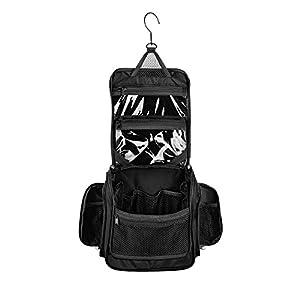 Medium Size Hanging Toiletry Bag with Detachable TSA Compliant Zipper Pocket & Swivel Hook (Graphite)